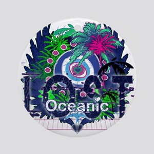 Oceanic Logo with Palm Trees and He Round Ornament