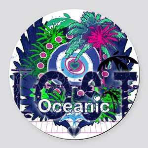 Oceanic Logo with Palm Trees and  Round Car Magnet