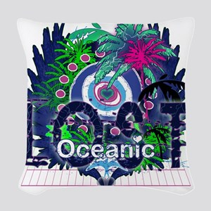 Oceanic Logo with Palm Trees a Woven Throw Pillow