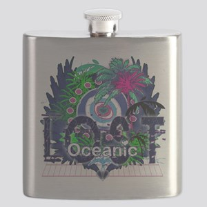 Oceanic Logo with Palm Trees and Hearts Flask