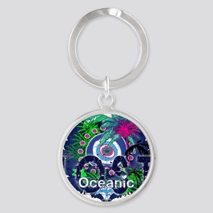 Oceanic Logo with Palm Trees and He Round Keychain