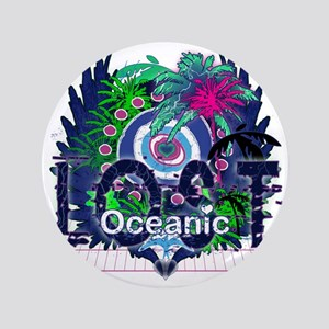"""Oceanic Logo with Palm Trees and Heart 3.5"""" Button"""