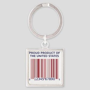 Barcode United States Square Keychain