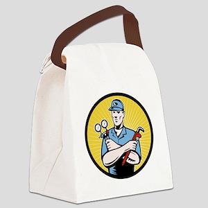 Nrepairman serviceman holding ac  Canvas Lunch Bag