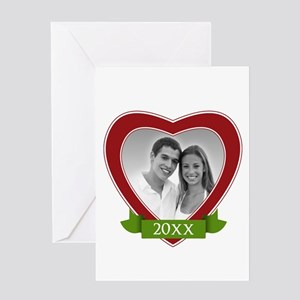 Heart with Banner Year Greeting Cards