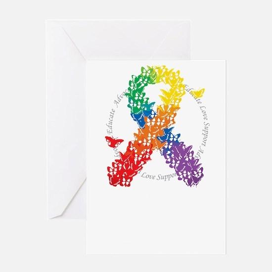 LGBT-Butterfly-Ribbon-blk Greeting Card