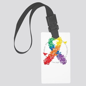 LGBT-Butterfly-Ribbon-blk Large Luggage Tag