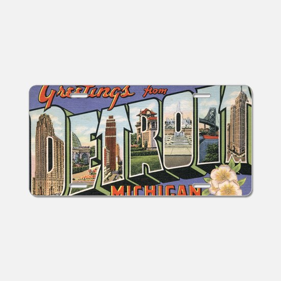 detroit postcard Aluminum License Plate