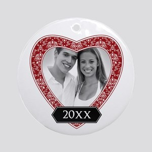 Heart Damask Border Ornament (Round)