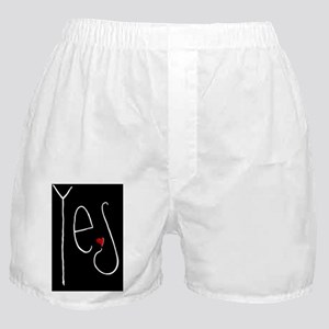 Yes Heart white Card Boxer Shorts