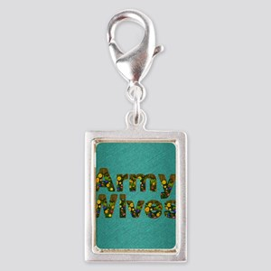 armywivessq Silver Portrait Charm