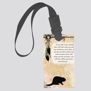 nativeamerican_journal_beaver Large Luggage Tag