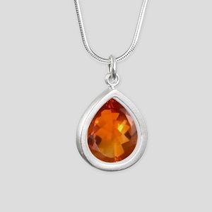 citrine 2 Silver Teardrop Necklace