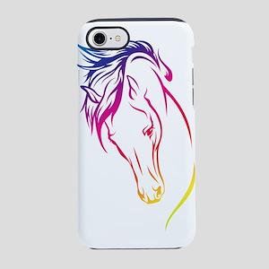 Rainbow Lines Horse Head iPhone 7 Tough Case