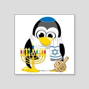"Hanukkah-Penguin-Scarf Square Sticker 3"" x 3"""
