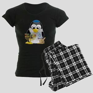Hanukkah-Penguin-Scarf Women's Dark Pajamas