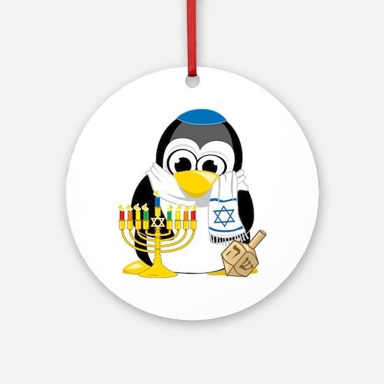 Hanukkah-Penguin-Scarf Round Ornament