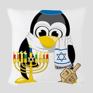 Hanukkah-Penguin-Scarf Woven Throw Pillow