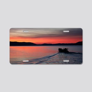 bass boat at sunrise Aluminum License Plate
