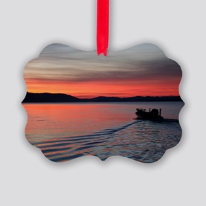 bass boat at sunrise Picture Ornament