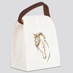 Line Art Horse Head Canvas Lunch Bag
