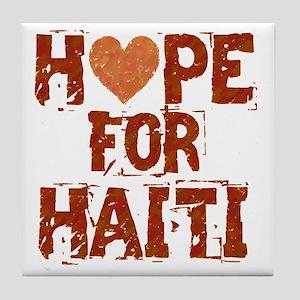 HOPE FOR HAITI burnt orange Tile Coaster