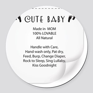 Cute Baby Tag Round Car Magnet