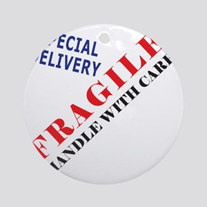 Fragile Baby Shirt Back Round Ornament