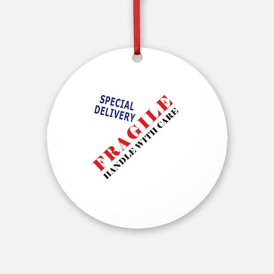 Fragile Baby Shirt Back Round Ornament