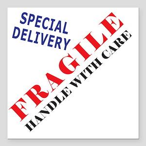 "Fragile Baby Shirt Back Square Car Magnet 3"" x 3"""