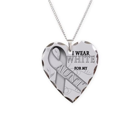 I Wear White for my Aunt Necklace Heart Charm