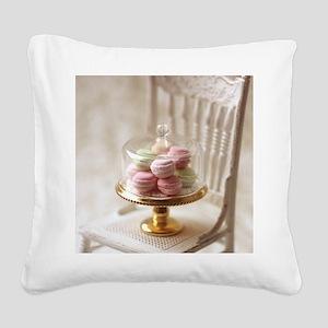 Elegant Macarons Square Canvas Pillow