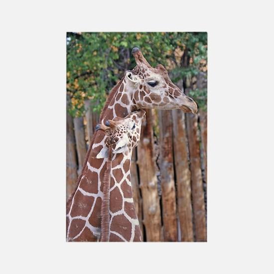 giraffe-cuddle Rectangle Magnet