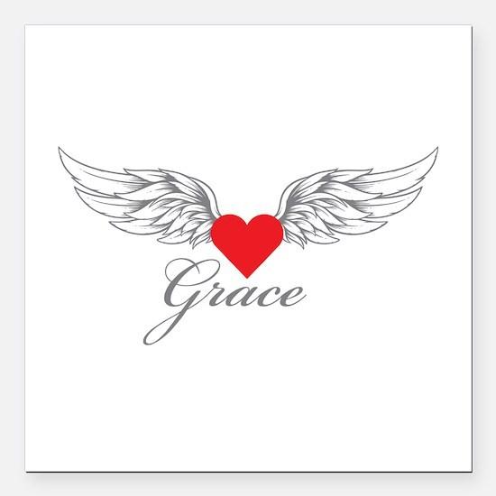 "Angel Wings Grace Square Car Magnet 3"" x 3"""