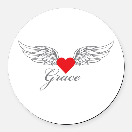Angel Wings Grace Round Car Magnet