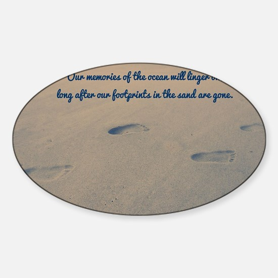 Footprints in the Sand Sticker (Oval)