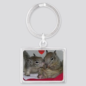 Valentine Squirrels Landscape Keychain