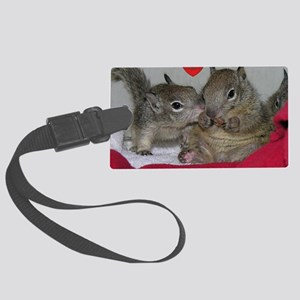 Valentine Squirrels Large Luggage Tag