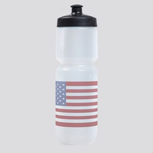 10x3_sticker_american_flag Sports Bottle