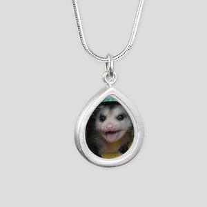 Possum Birthday Card - H Silver Teardrop Necklace