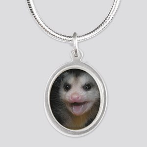 Possum Birthday Card - Hey Th Silver Oval Necklace