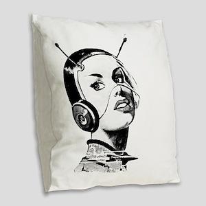 Spacegirl Burlap Throw Pillow