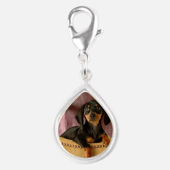 blak red puppy16x16 Silver Teardrop Charm