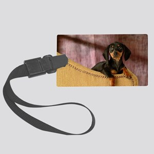 blak red puppy12x16 Large Luggage Tag