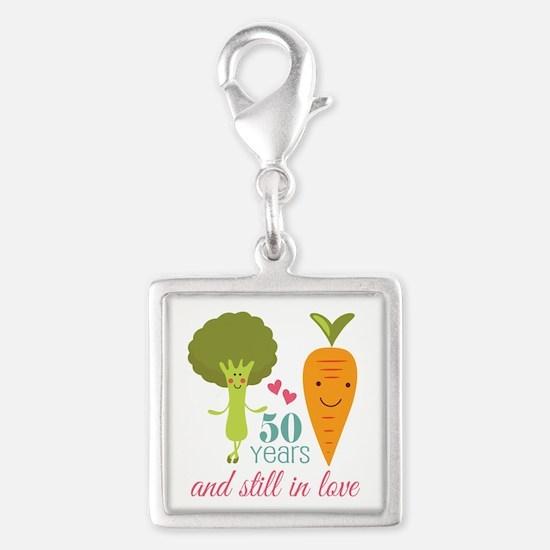 50 Year Anniversary Veggie Couple Silver Square Ch