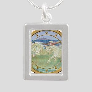 NEPTUNE HORSES CLOCK 3 Silver Portrait Necklace