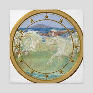 NEPTUNE HORSES CLOCK 3 Queen Duvet