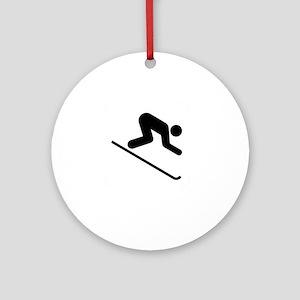 Ski Broke White Round Ornament