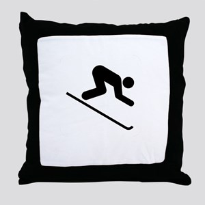 Ski Broke White Throw Pillow