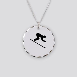 Ski Broke White Necklace Circle Charm